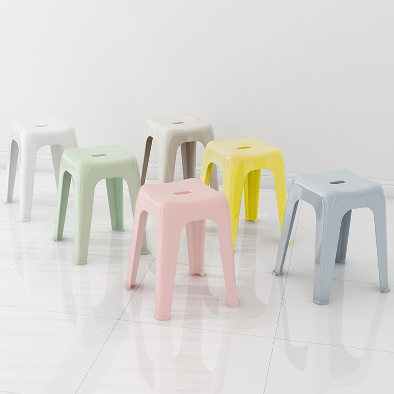 Plastic Stool Household Thick Adult Plastic Bench Can Be Superimposed Creative Square Stool Dining Room Table Bar Stool Simple jiao deng