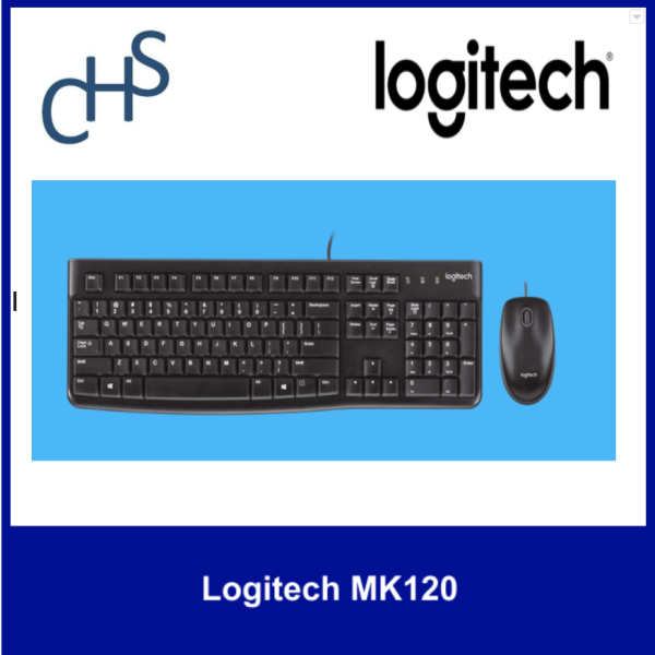 (Original) Logitech MK120 | Low profile | HD optical tracking | Spill resistant | Compatible for  Windows Vista®, Windows® XP, Windows 7, Windows 8, Windows 10 | 3 years warranty Singapore