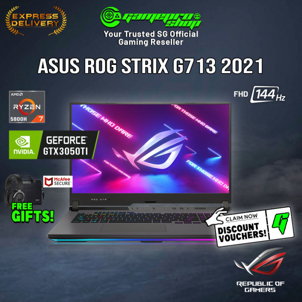 [Ready Stock/FREE Gifts] NEW ASUS Strix ROG G17 G713QE-RTX3050TI Gaming Laptop (Ryzen 7 5800H/RTX 3050TI/17.3 144hz/W10/2Y)
