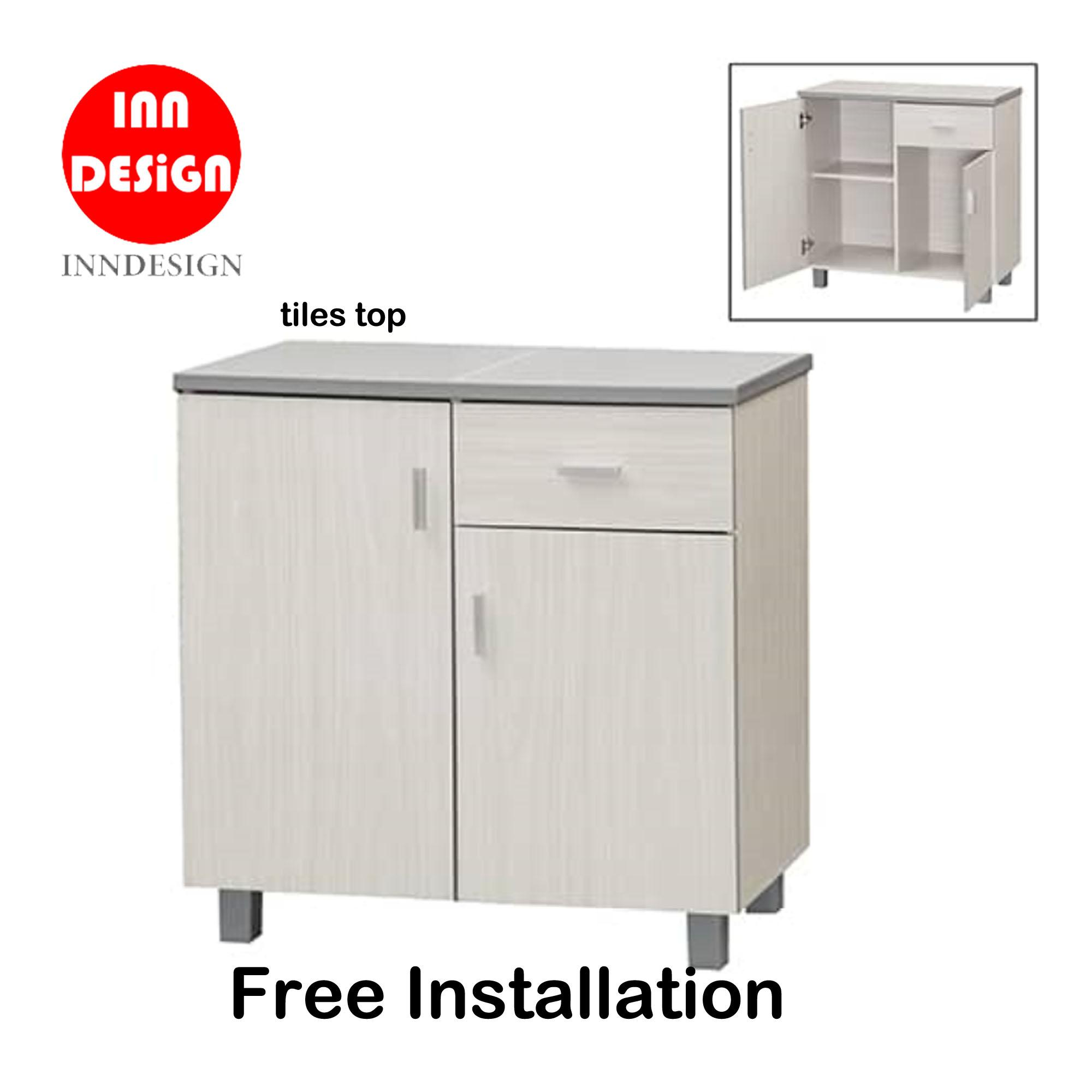 Dew 2 Doors Kitchen Cabinet With Tiles Top (Free Delivery and Installation) (WhiteWash)