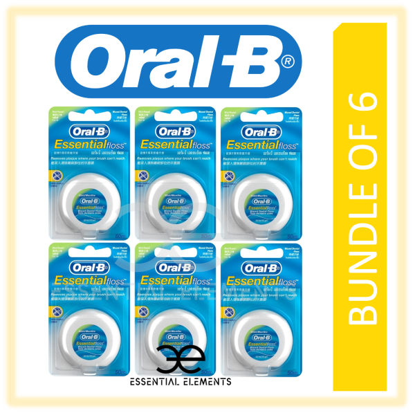 Buy ORAL B [BUNDLE OF 6] ESSENTIAL DENTAL FLOSS|FLOSSING 50M WAXED MINT|ORAL-B BRUSH OFF PLAGUE BACTERIA Singapore