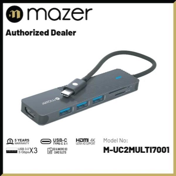 Mazer Infinite.Multimedia Pro Hub 6-in-1 USB-C Multimedia Hub with HDMI 4K Display Output Black Edition