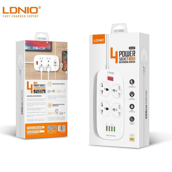 Ldnio 2500W Universal 4 Power Socket + 4 USB Ports Extention QC3.0 USB Fast Charging Charger  Surge Protector Independent Switch Strip UK Plug Airdroptech