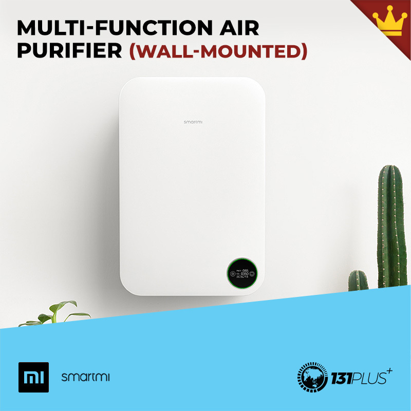 Xiaomi Smartmi Multi-Function Air Purifier Wall Mounted [ Fresh Air, Fresher, Cleansing, 220mm³/h, 50㎡, Filter PM2.5, 3 Filter Layers, 6 Gears, APP Control, Hygrometer, High Precision Air Quality Sensor, Touch Screen Control, OLED Display, Power Saving ] Singapore