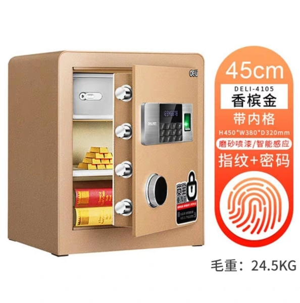 (Amura Living) Deli 4105 24.5kg Champagne Gold Thumbprint Digital Safe 380mm x 320mm x 450mm Height
