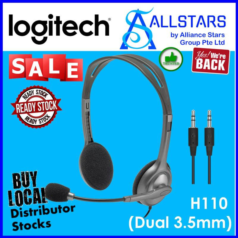 (ALLSTARS : We are Back / Conference Promo) LOGITECH H110 Stereo Headset (981-000459) / Dual 3.5mm Audio Jack (Spk / Mic) (Local Warranty 2years with BanLeong) Singapore