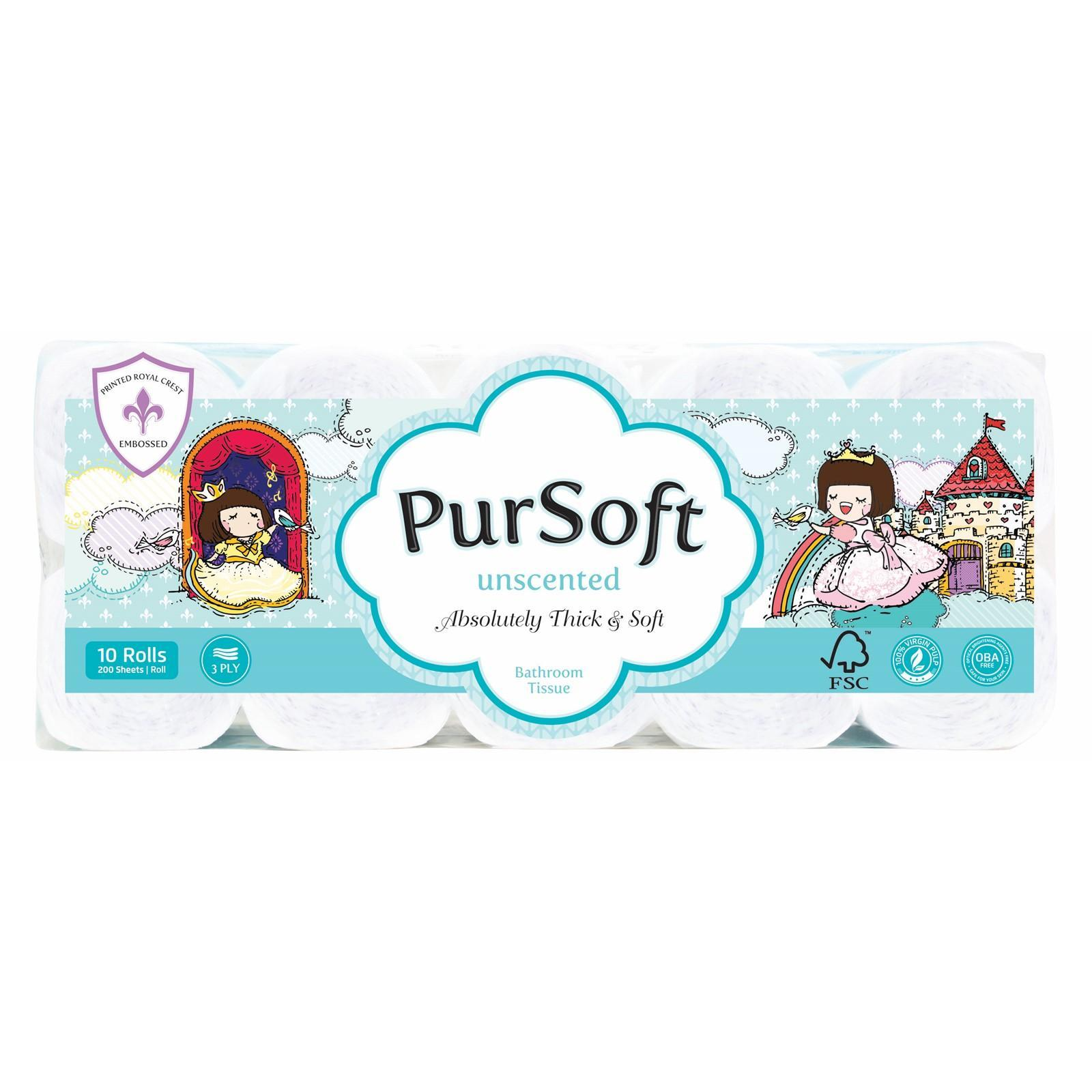 PurSoft Chocolate Rain Royal Embossed 3-Ply Toilet Tissue - 10 Rolls