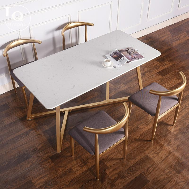 Northern Europe Household Dining Tables And Chairs Set Simple Marble Small Apartment 6 People with Leisure Cafe Restaurant Table