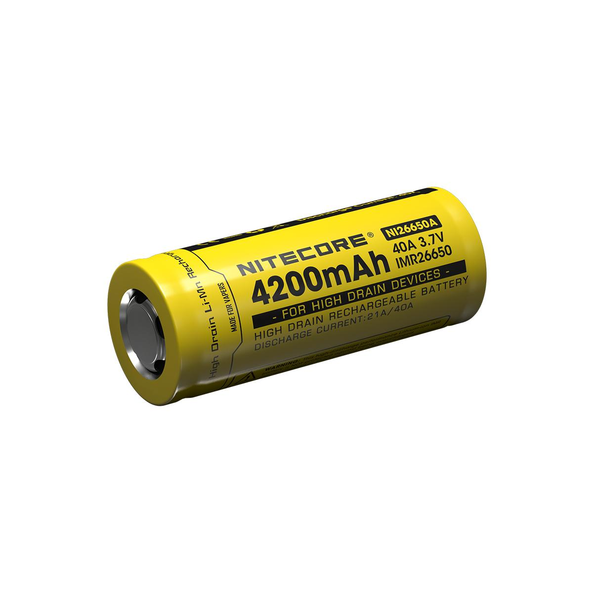 Nitecore 26650 4200mAh 3.7V IMR 40A Flat Top Cell Rechargeable Battery for High Drain Devices