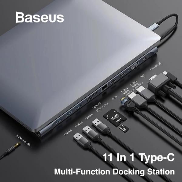 Baseus 11-in-1 Type-C Hub Notebook Laptop Macbook Adapter USB 3.0 HDMI MicroSD 3.5mm