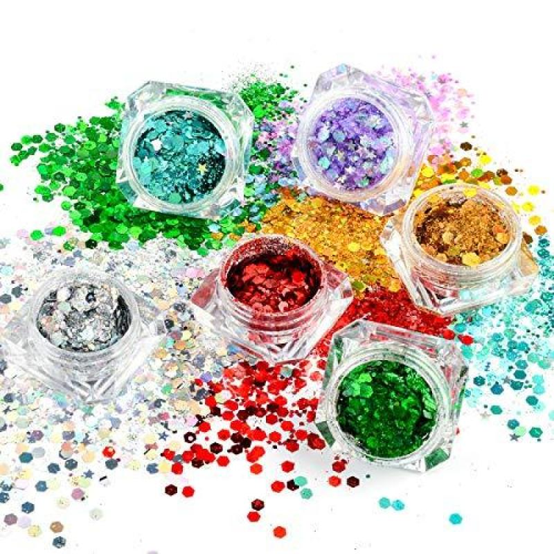 Buy ICOLORY 8 Boxes Makeup Face Body Glitter Set, 6 Colors Holographic Cosmetic Festival Chunky Glitter, Mixed Shape Flakes Pigments for Halloween, Face, Eye, Body, Hair, Nail and Other Occasions Decoration Singapore