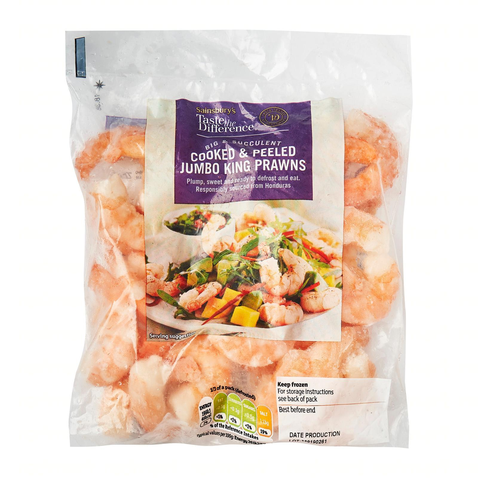 Sainsbury's Taste The Difference Cooked And Peeled Jumbo King Prawns - Frozen