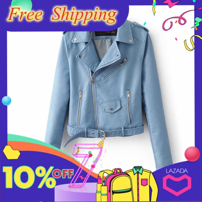 Stf Fashion Women Faux Leather Jackets European And American Style Slim Short Long Sleeve Zipper Slimming Locomotive Jacket By Six Trees Flagship Store.