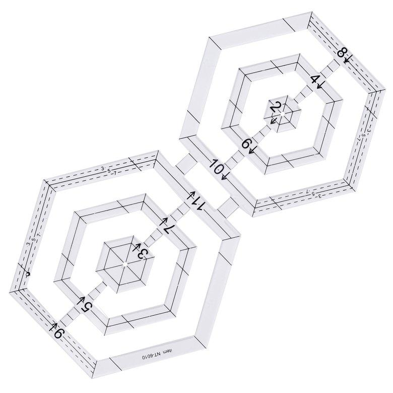 HORI Double hexagonal acrylic patchwork patchwork tool  patchwork hand-made ruler