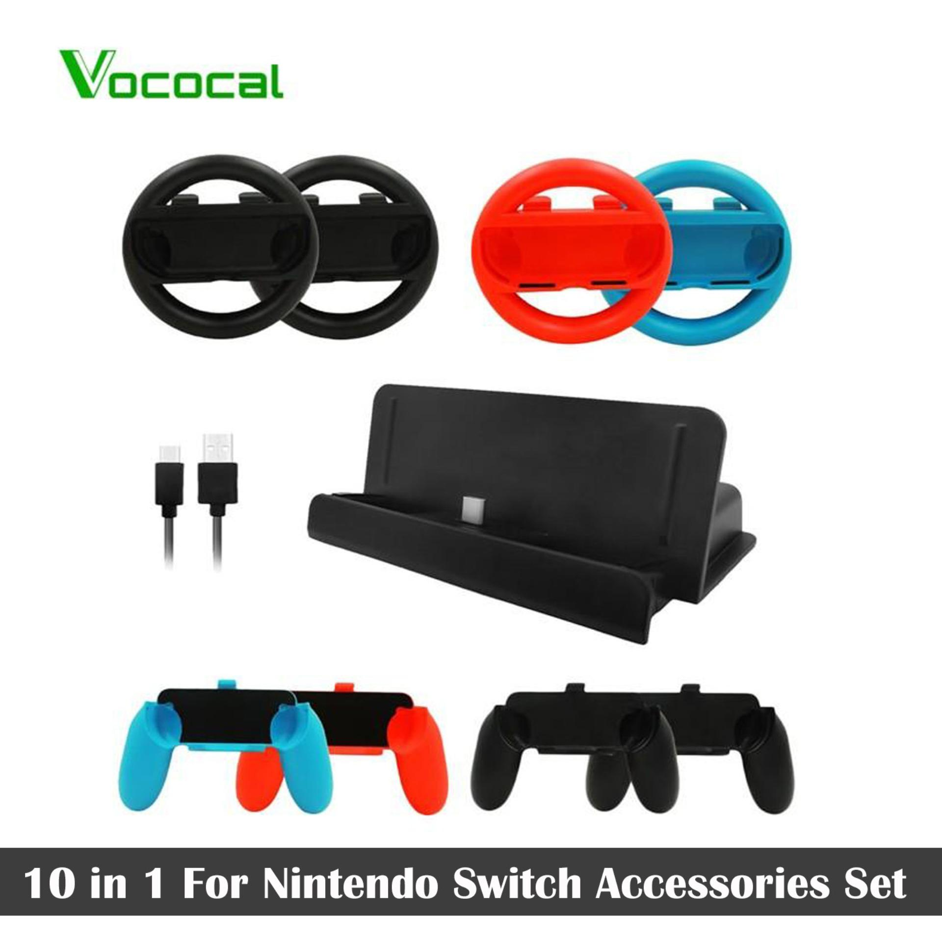 (in Stock)vococal 10 In 1 For Nintendo Switch Accessories Set 4 Pcs Joy Con Controller Wheel + 4 Pcs Grip Handle + 1 Pcs Console Charge Stand + 1 Pcs Usb Cable - Intl By Vococal Shop.
