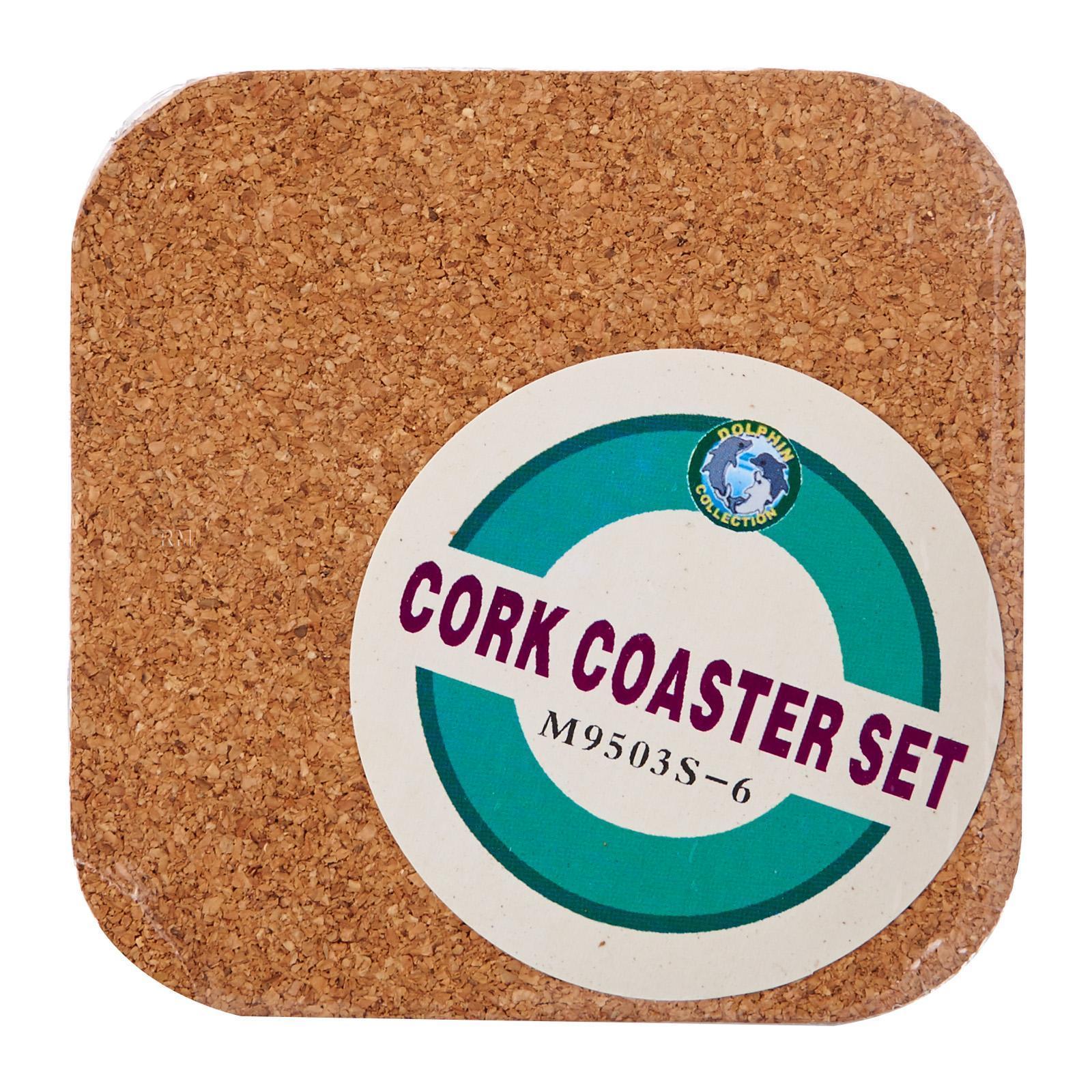 Dolphin Collection Square Cork Coaster 6 PCS Set