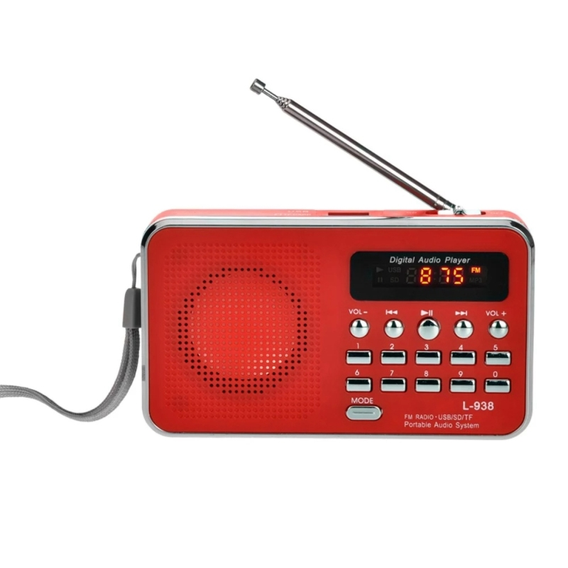 L-938 Mini Portable Digital FM Radio 3W Output Power / 1.5 Inch Display Screen / Support USB Drive / TF / SD / MMC Card / AUX-IN