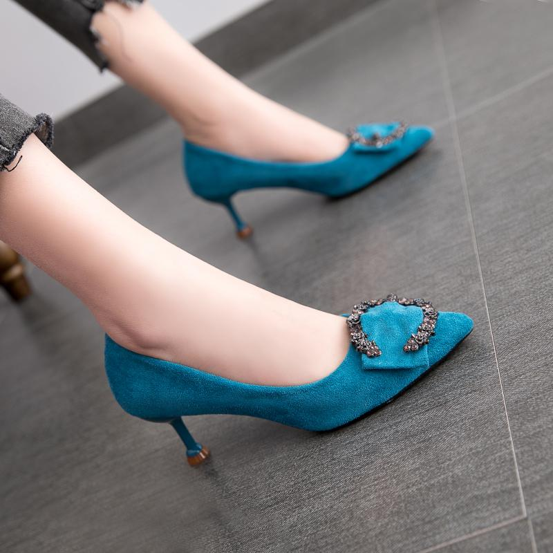 Hipster French Girls High Heel Shoes Female Thin Heeled 5 Cm Blue High Heel Shoes Dull Polish Kitten Heels Bridesmaid Female Semi-High Heeled.