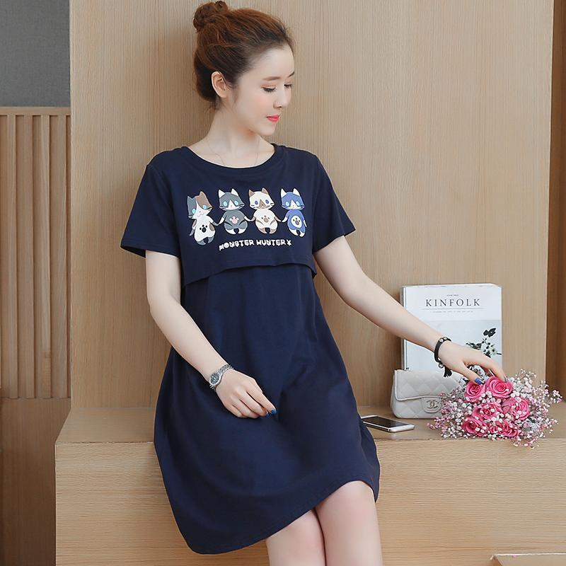 39c38a240e8 2019 Summer Wear New Style Nursing Dress Korean Style Short Sleeve  Mid-Length Slimming Large