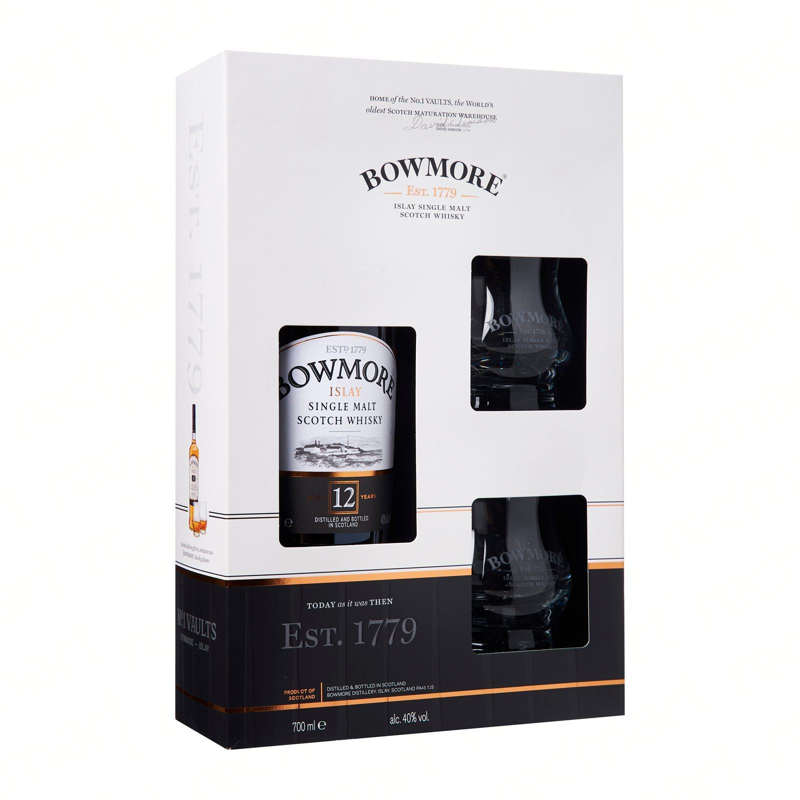Bowmore Bowmore 12 Year Old And 2 Glass Gift Set - By The Liquor Shop Singapore