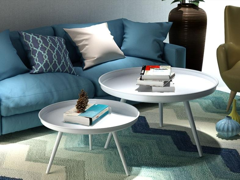 Round Metal Coffee Table Set (White)