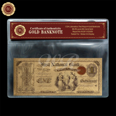 1875 Edition $1 US Colored Dollar Fine 24k Gold Banknote Free COA Sleeve