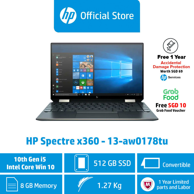 HP Spectre x360 - 13-aw0176tu / Intel® Core™ i5-1035G4 / 8GB RAM / 512GB SSD / Convertible / Touchscreen / Light / Long Battery Life / First Year ADP Coverage