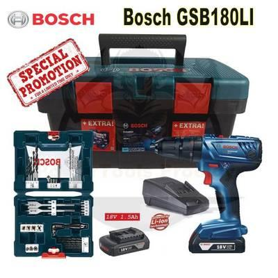 BOSCH 18V GSB 180-LI CORDLESS IMPACT DRILL DRIVER + 41 PCS COMBINATION SET / FREE ACCESSORIES