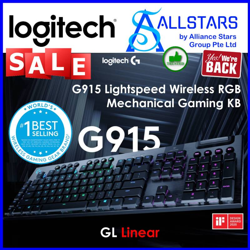 (ALLSTARS : We are Back / Gaming PROMO) Logitech G915 Lightspeed / GL Linear G915 Wireless RGB Mechanical Gaming Keyboard (920-009227) (Warranty 2 years with Local Distributor BanLeong) Singapore