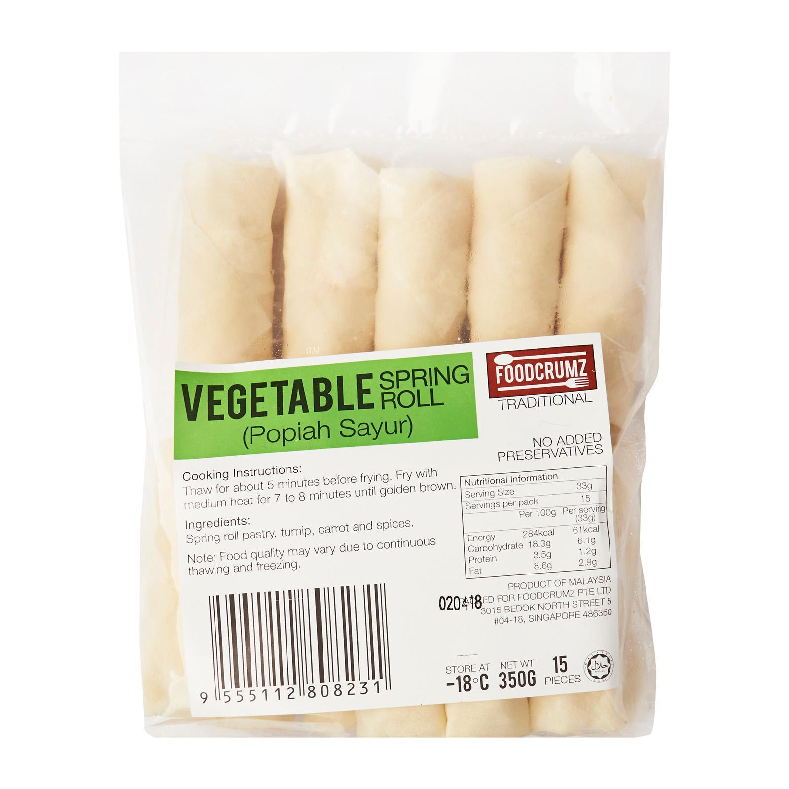 Foodcrumz Vegetable Spring Roll - Frozen