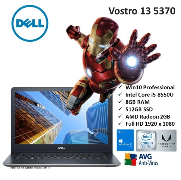 [Demo Units] Dell Vostro 13 5370 core i7-8gen i7-8550u 8gb 512gb ssd 13.3 win10 professional 64bit home & business ultrabook notebook laptop