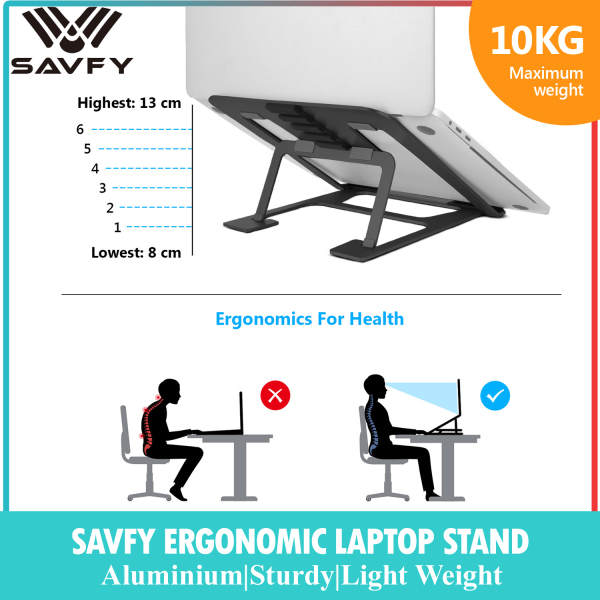 [SG Local Stock] SAVFY Aluminium Sturdy Laptop Stand Raiser Cooling Foldable Portable Adjustable Table for Notebook Macbook Pro Christmas Gift