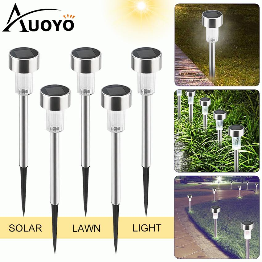 Auoyo 5PCS Solar Lights Outdoor Lighting Solar Pathway Lamp Outdoor Garden Lights Solar Landscape Lights Security Lamp for Outdoor Yard Patio Walkway Driveway