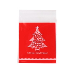 100 Pcs Self Adhesive Merry Christmas Cookie Candy Snack Package Gift Bags Pouch 3.9 X 4.3inch Tree Style - Intl By Stoneky.