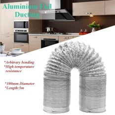 100mm Aluminum Foil Flexible Ducting 5/10m Foil Air Ventilation Duct Hydroponic (5m) - Intl By Freebang.