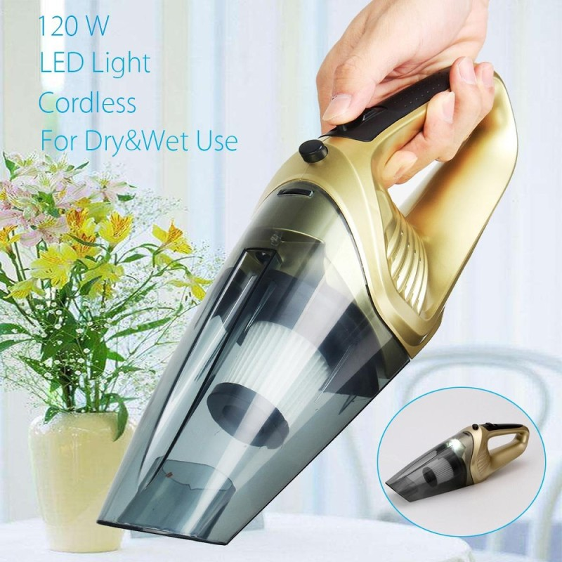 【Free Shipping + Flash Deal】120W 4 in 1 Handheld Cordless Car Home Vacuum Cleaner Wet Dry Portable LED Quiet Gold - intl Singapore