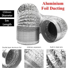 150mm Aluminum Foil Flexible Ducting 5/10m Foil Air Ventilation Duct Hydroponic (5m) - Intl By Qiaosha.