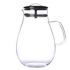 1900Ml Large Capacity Glass Pitcher Drink Water Juice Tea Milk Beverage Jug Pitcher Bottle With Filter Stainless Steel Lid For Homemade Juice Iced Tea Intl Free Shipping