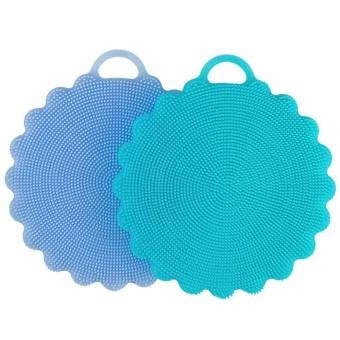2 pcs Food-grade Antibacterial Silicone Non Stick Dishwashing Dish Brush Towel Scrubber For Kitchen Wash Pot Pan Dish Bowl