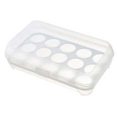 2 Tiers 15-Hole Plastic Eggs Container With Handle Fridge Freezer Storage Eggs Holder Box Case (white) By Stoneky.