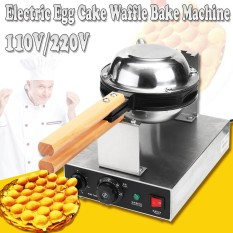 220v Stainless Steel Electric Egg Cake Oven Puff Bread Waffle Bake Machine Silver - Intl By Audew.