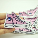 Best 5Pcs Pink Sneaker Sew Iron On Patch For Jeans Jacket Embroidered Applique Badge Cute Patch Fabric For Clothing Apparel Diy Intl