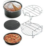 7 Inch Round Air Fryer Pan Rack Grill 5Pcs Set Air Fryer Accessory Kit Intl China