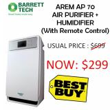 Who Sells Barrett Tech Arem Ap70 Air Purifier 6 Stage Filtration Humidifier With Remote Control Cheap