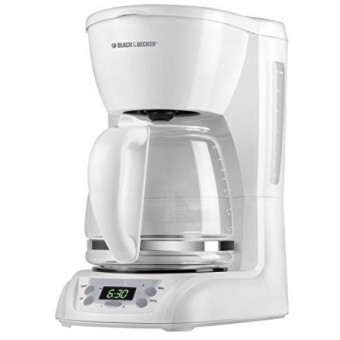 BLACK+DECKER 12-Cup Programmable Coffeemaker with Glass Carafe White DLX1050W