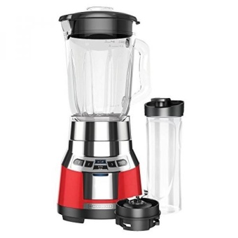 BLACK+DECKER BL1821RG-P FusionBlade Digital Blender with 6-Cup Glass Jar and 20 Ounce BPA-Free Portable Personal Blender Jar Red/Stainless Steel Blender