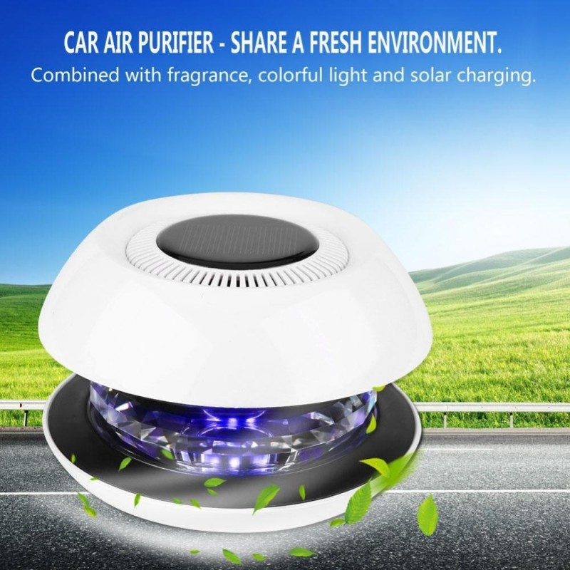 Car Solar Air Purifier Ionizer Cleaner Aromatherapy Anion Sterilization for Vehicle Home Office - intl Singapore