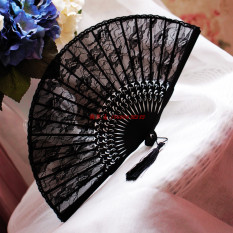 Price Style Victoria Silk Black Luxury Folding Fan Lace Fan Oem New