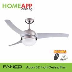 Latest Fanco Acon 52 Ceiling Fan With Light And Remote Metallic Silver With Installation