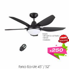 Purchase Fanco Eco Lite 52 Inch Ceiling Fan With Led Light And Remote Free Installation Online
